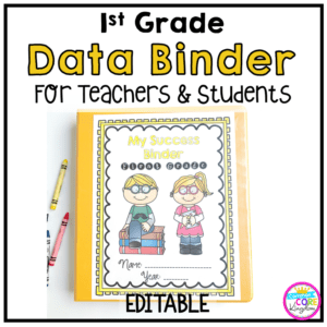 Image of a 1st Grade Data Binder for Teachers and Students with clickable link to Teachers pay Teachers