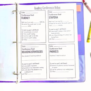Student data notebook showing Fluency, Stamina, Reading Strategies, and Phonics categories for reading conference notes