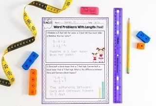length worksheet with ruler and tape measure