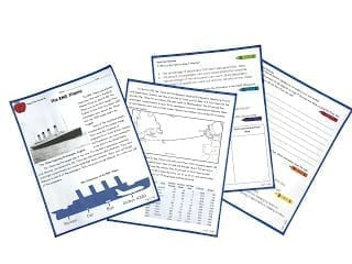 Four pages from reading comprehension resource showing article on titanic and standardized test based questions