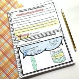 Morning work example page showing national pickle day passage and sample illustration on bottom of page