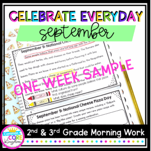 Cover of September Celebrate Everyday Morning Work showing September 5 holiday with pink ONE WEEK SAMPLE written across the image