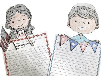 Image of Honoring Veterans writing prompts with toppers of girl and boy holding patriotic items.