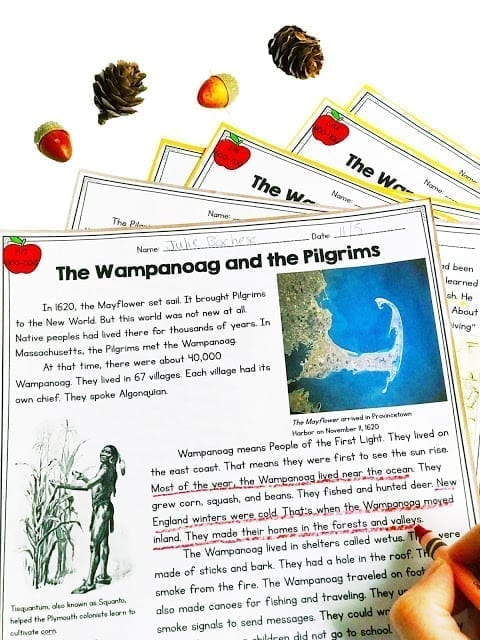 Wampanoag and Pilgrims reading passages