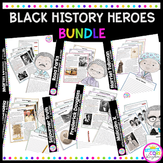 Cover of Black History Heroes bundle showing resources with Martin Luther King, Rosa Parks, Harriet Tubman, Sojourner Truth, Frederick Douglass, Malcolm X, and others.