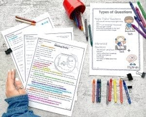 Woman's hand and crayons with teaching worksheets