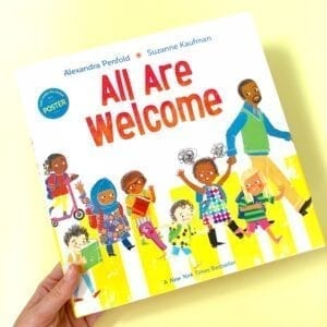 All Are Welcome book cover showing diversity of students in a positive classroom culture