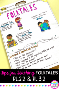 Tips for Teaching RL.2.2 and RL.3.2 with image of anchor chart for recounting folktales