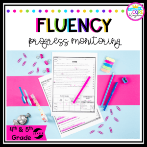Fluency Progress Monitoring product cover for fourth and fifth grade showing reading fluency product