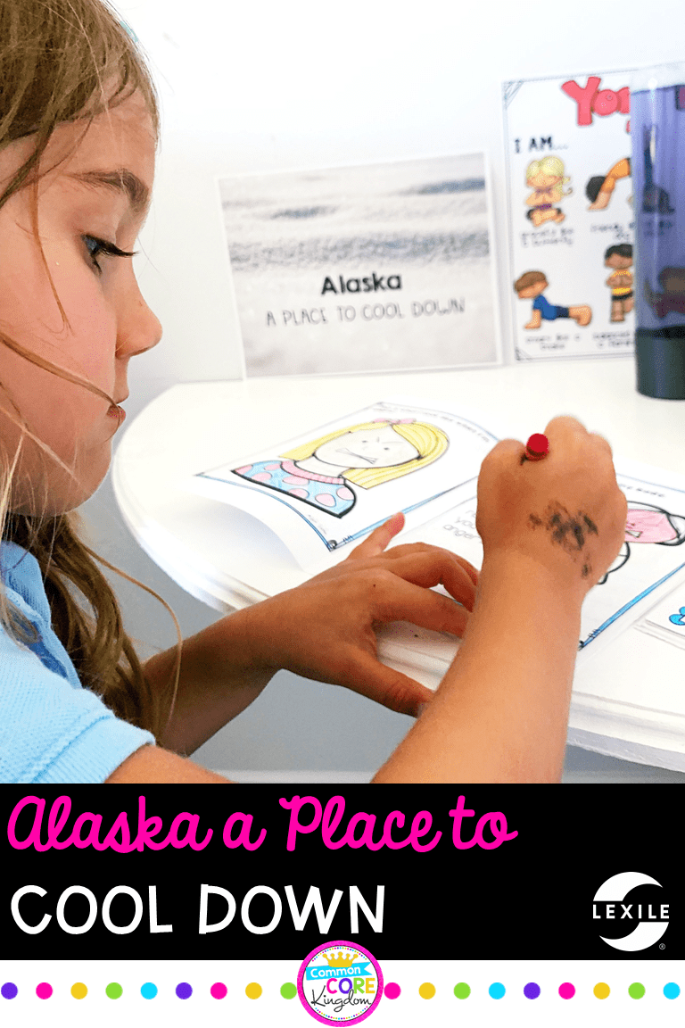 Girl coloring pictures in cool down corner