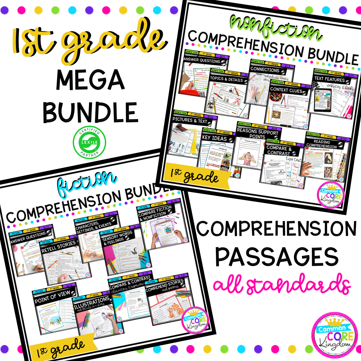 - 1st Grade Reading Comprehension MEGA Bundle Common Core Kingdom