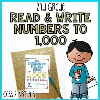 Second Grade Read & Write Numbers to 1,000 Cover Sheet with a cartoon boy and a picture of the My Number of the Day Book cover