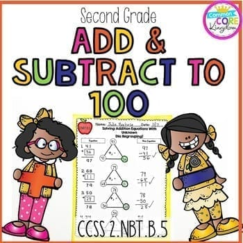 Second Grade Add & Subtract to 100 Cover Page with two cartoon girls, each holding an addition or subtraction symbol with a completed addition worksheet page