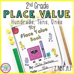 2nd Grade Place Value cover sheet with cover page of Place Value Book, with a pencil and math counter manipulatives