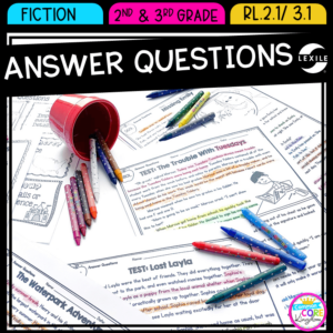 Reading Comprehension Resource cover showing pages from answer questions passages