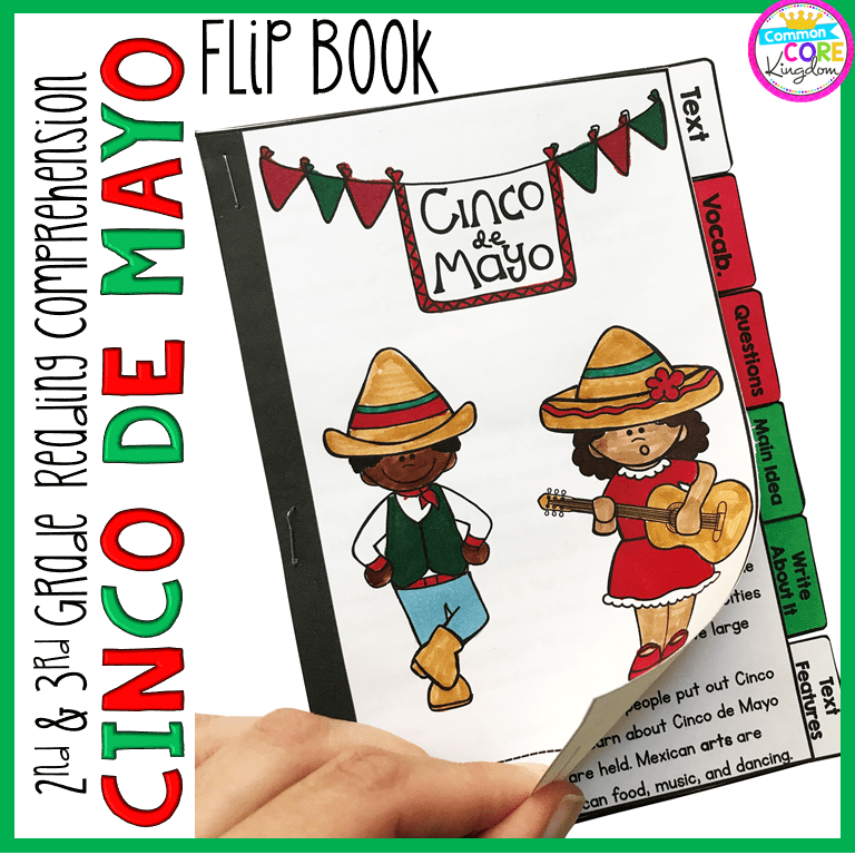Cinco De Mayo Reading Comprehension Flip Book Activities- 2nd & 3rd Grade  Common Core Kingdom