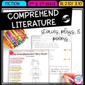 Reading Comprehension Resource cover showing pages from comprehension review for stories, plays, and poems