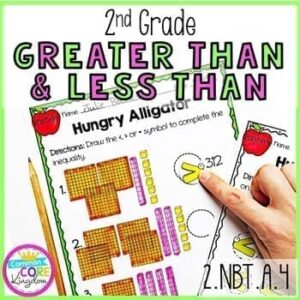 Cover Page for 2nd Grade Greater Than & Less Than Math Unit, showing 2 hungry alligator worksheet pages with a pencil