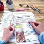 Main Idea passage with teacher holding article about the history of teddy bears