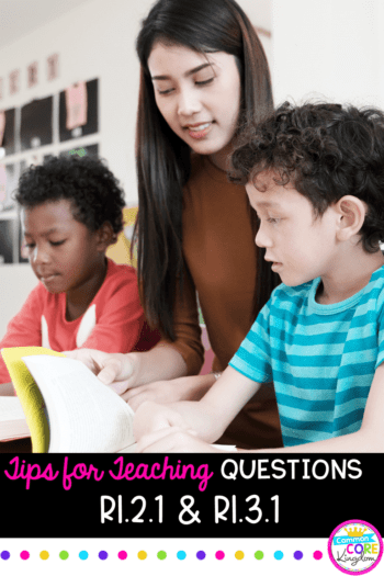 Tips for Teaching Questions in Nonfiction pin showing teacher with two students