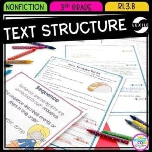 Reading Comprehension Resource cover showing an anchor chart, reading passage, and question sheet from nonfiction text structure