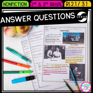 Answer questions passages and questions product cover showing passage about Helen Keller