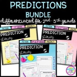 Making Predictions bundle cover showing three teaching predicting units