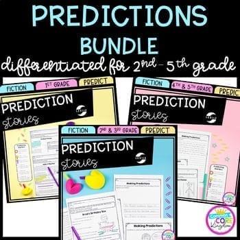 Making Predictions bundle cover showing three teaching predicting units