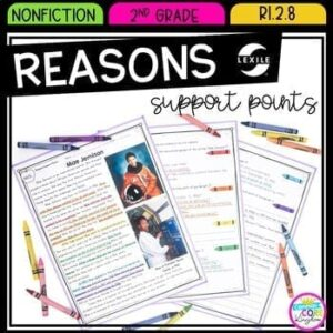 Reading Comprehension Resource cover showing pages from reasons support points reading passages