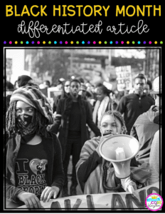 Black History Month Freebie Cover showing black demonstrators marching for equality
