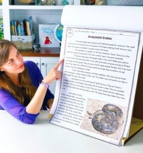 Teacher pointing to an article about anaconda snakes that was printed out on poster board for a main idea lesson.