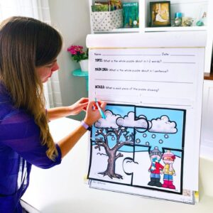 Teacher listing details for large main idea puzzle that was printed and displayed on poster board.