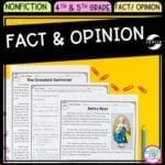 Cover of Fact and Opinion in nonfiction resource for fourth grade and fifth grade showing images of reading passages and activities.