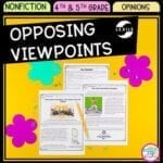 Opposing Viewpoints cover showing images of reading passages and question sets focused on teaching 4th grade and 5th grade how to understand different viewpoints.