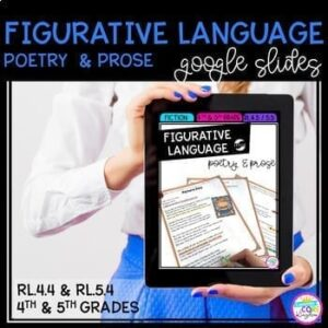 Woman holding a tablet showing the cover of a figurative language unit that covers poetry and prose that can be used for national poetry month.