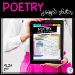 Poetry in Google Slides resource for celebrating national poetry month showing woman in white shirt and pink dress holding a tablet with the cover of a poetry reading comprehension resource on it.