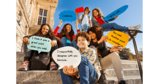 image showing students on stairs outside a building holding speech bubbles with different opinions on them.