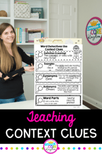 Teaching Context Clues Pin showing Context Clues Anchor Chart and Julie Bochese standing next to it.