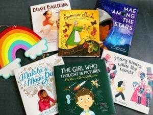 Image showing six lower elementary books with women's history themes that the author uses to teach women's history month.