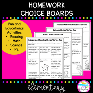 Teaching resource cover showing homework choice boards for use in home learning during extended absences.