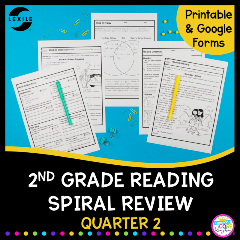 Cover for 2nd Grade Spiral review with google apps for distance learning