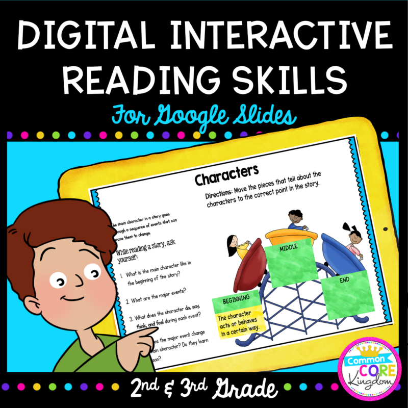 2nd grade graphic organizer and digital interactive reading skills cover with boy holding tablet and showing a page of resource