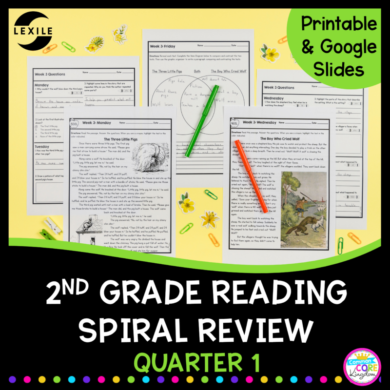 2nd Grade Reading Spiral Review for the 1st quarter with google distance learning cover